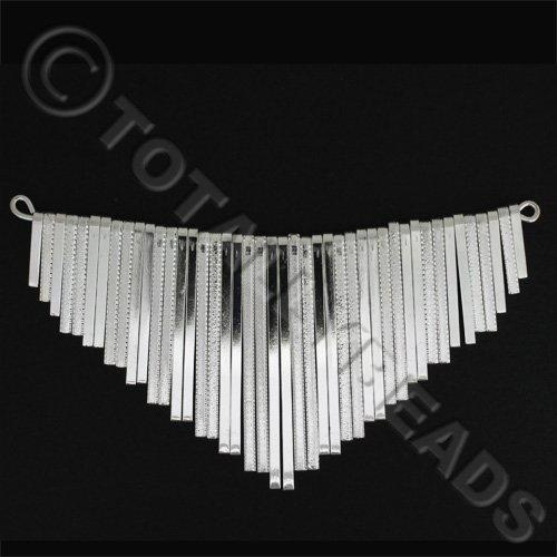 Graduated Fan - Flat Patterned Silver 14cm