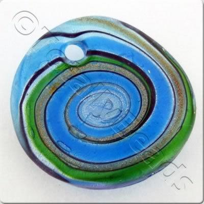 Lampwork Pendant - Curved Disc 40mm - LPT02