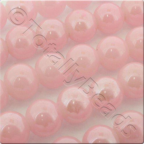 Luster Glass Bead 10mm Round - Pink