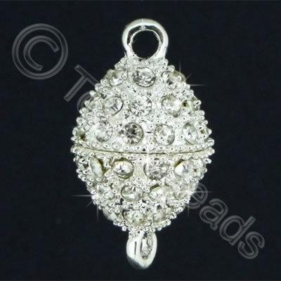 Magnetic Clasp- Crystal Spotted Oval 25mm - Silver Plate