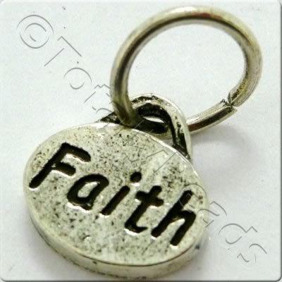 Tibetan Silver Message Tag/Charm - Faith