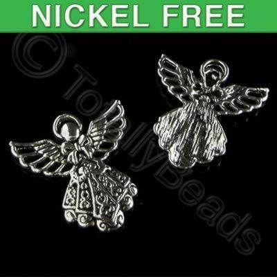 Antique Silver Charm - Winged Angel 23mm
