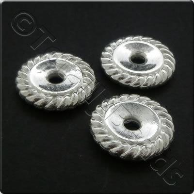 Metalised Acrylic Bead Roped Disc 18x3mm - Silver 25pcs