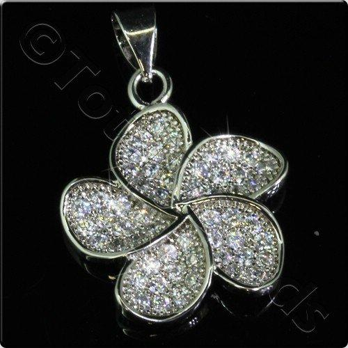 Pave Crystal Pendant - Silver Flower 17mm