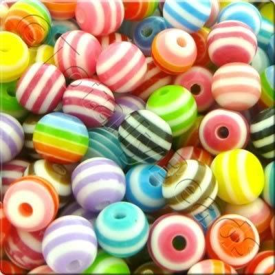 Resin Bead - Stripe Round 8mm - Mixed