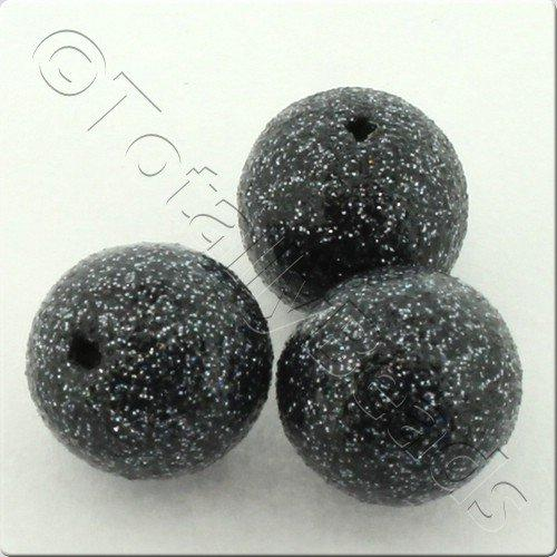 Resin Glitter Round 10mm Bead - Grey