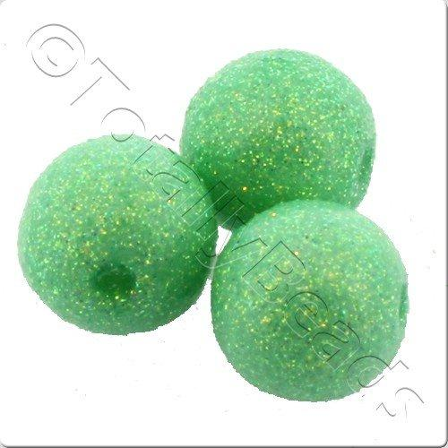 Resin Glitter Round 10mm Bead - Lime Green