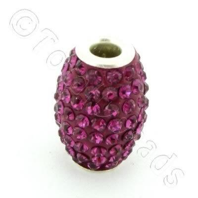 Shamballa Rice Bead - 20x14mm - Fuchsia