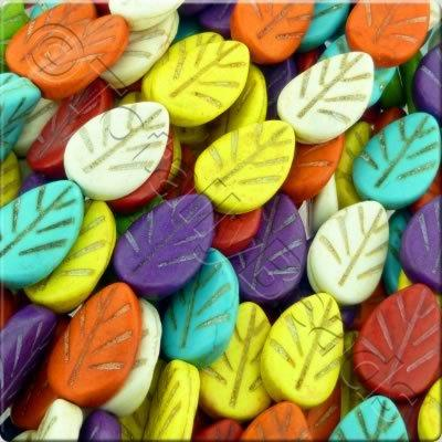 Synthetic Turquoise Leaf 22mm - Mixed