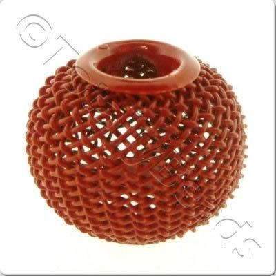 Wire Mesh Large Hole Bead - Red