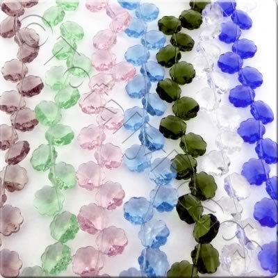 12 & 16mm Crystal Flower Beads - 5 Top Drilled Mixed Strings