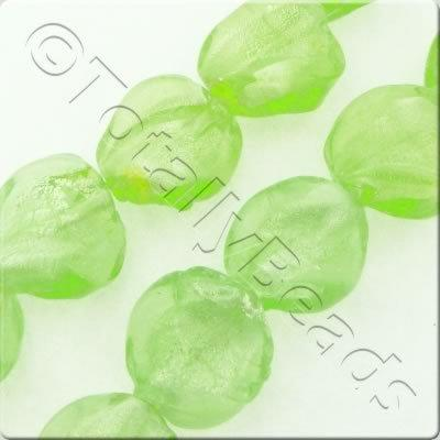 "Silver Foil Twist 16mm - Lime Green - 16"" String"