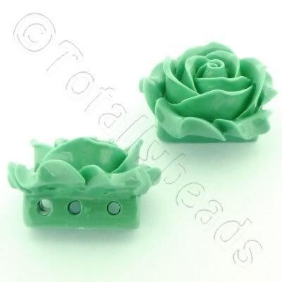 Acrylic Rose 35mm 3 Rows - Green