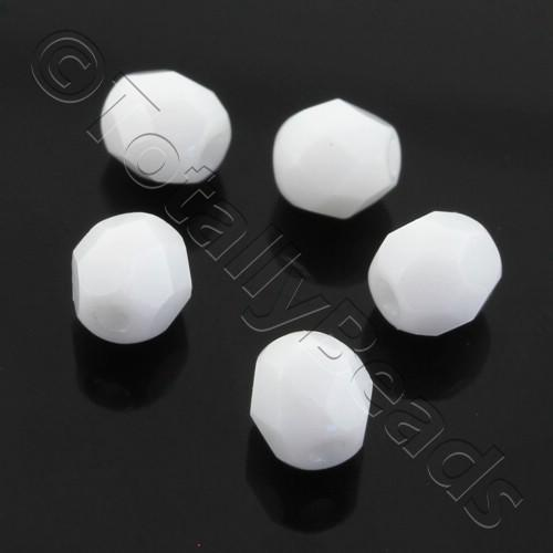 Czech Fire Polished 4mm Faceted - Alabaster - 100pcs
