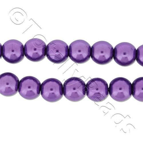 Glass Pearl Round Beads 6mm - Amethyst