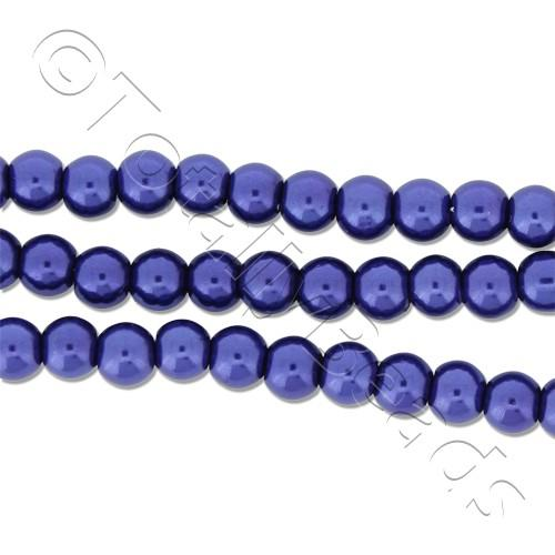 Glass Pearl Round Beads 4mm - Cobalt Blue