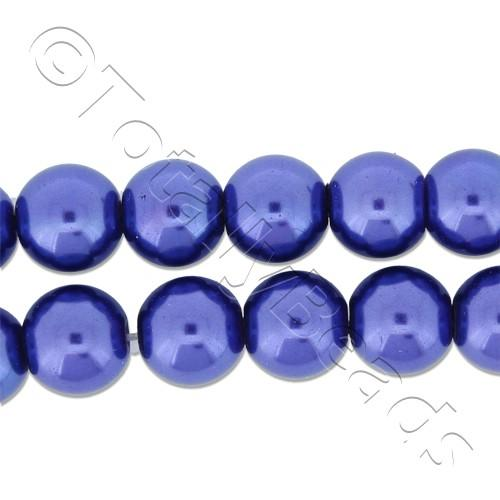 Glass Pearl Round Beads 8mm - Cobalt Blue