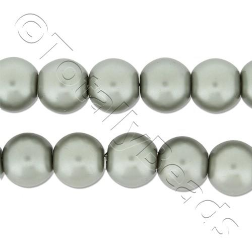 Glass Pearl Round Beads 8mm - Silver Grey