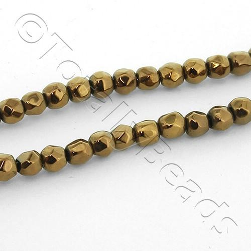 Faceted 3mm Round Bead - Bronze 200pcs 2 string