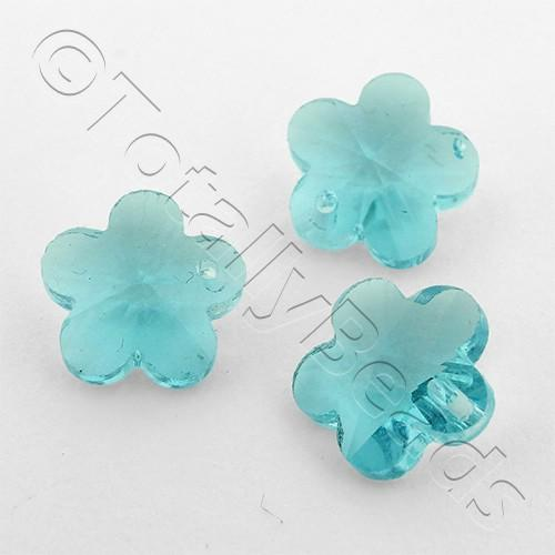 Crystal Charm Flower 10mm - Aqua 10pcs