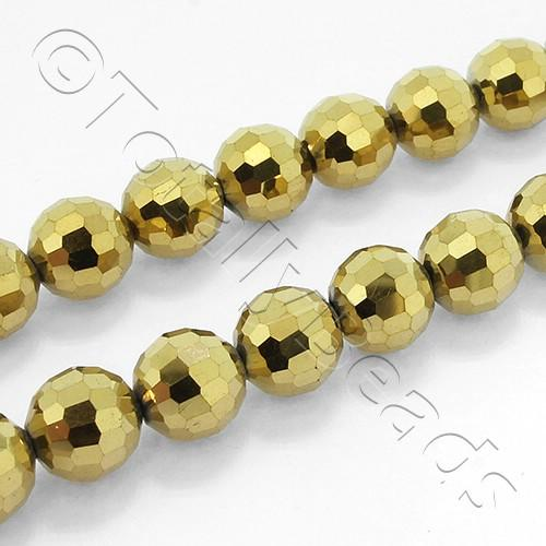 96 Facet Crystal 8mm Round Beads - Gold 70pcs