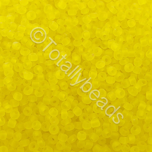 Seed Beads Transparent Frosted  Yellow - Size 11
