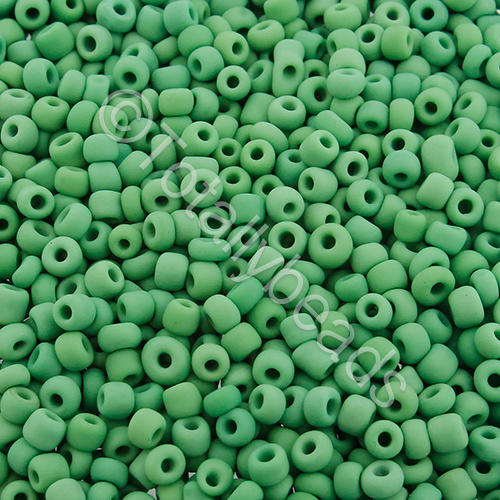 Seed Beads Opaque Frosted  Green - Size 8