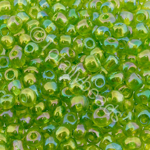 Seed Beads Transparent Rainbow  Light Green - Size 6