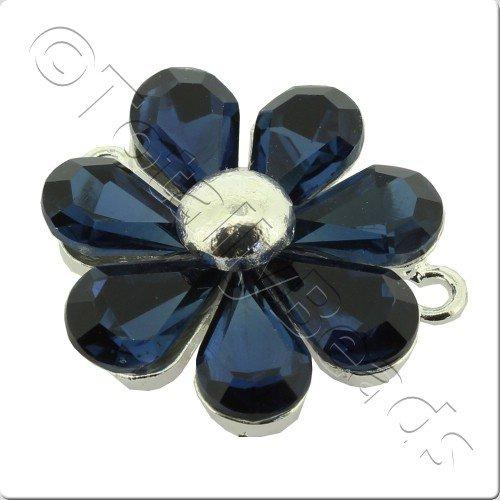 Silver Metal 7 Petal Blue Crystal Flower 30mm