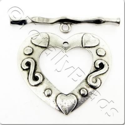 Tibetan Silver Toggle - Extra Large Heart