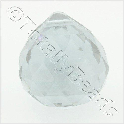 Glass Pendant Faceted Ball 20mm - Light Lilac