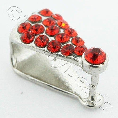 Silver Red Diamante Bail - 14mm