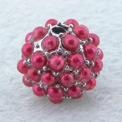 BeadyBall Bead - Silver & Red
