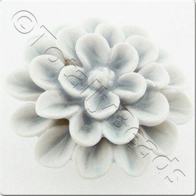 Ceramic Pendant - Flower - White&Grey