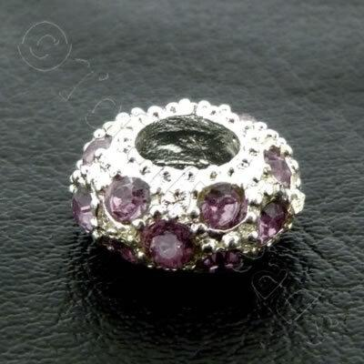 Diamante Large Hole Rondelle Spacer - 11x6mm - Light Amethyst