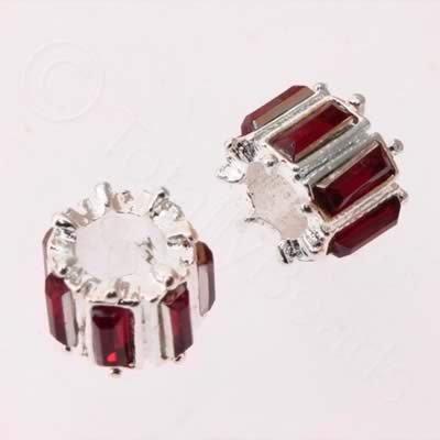 Large Hole Metal Spacer Tube 10x8mm - Red Crystal