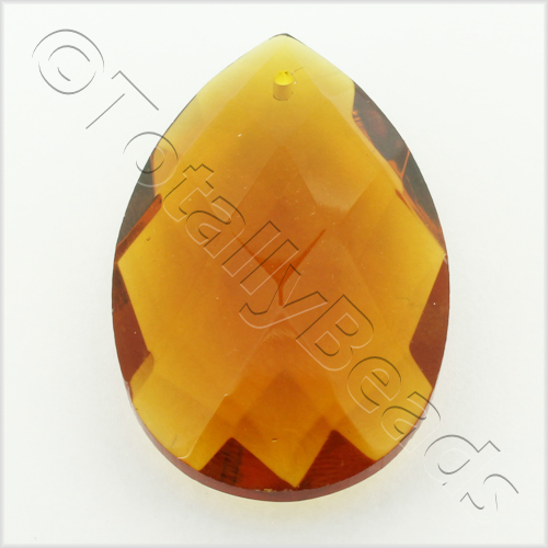 Glass Pendant Faceted Drop 28mm - Dark Amber