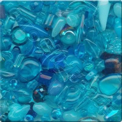 Mixed Glass Crystal Beads - Turquoise - 100g