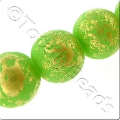 Gold Shimmer Glass Beads Round - Matt Lime Green