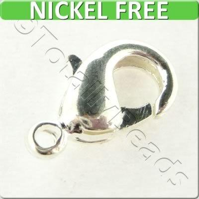 Lobster Clasp 12mm - Silver Plated - 10 Pieces