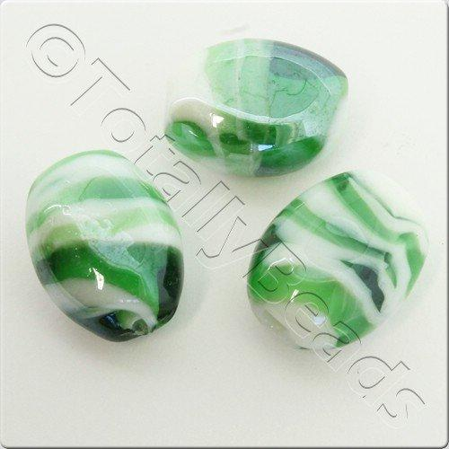 Lampwork Glass Bead Oval 22mm - Green White Swirl Luster