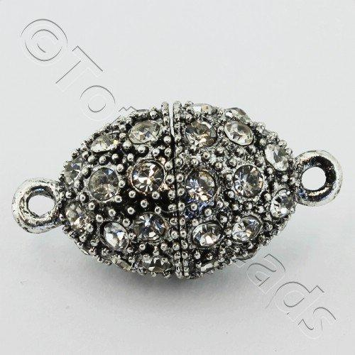 Magnetic Clasp Crystal Spotted Oval 25mm - Antique Silver