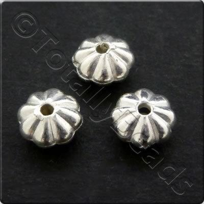 Metalised Acrylic Bead Flower 6x3.5mm - Silver 150pcs