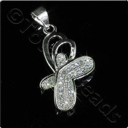 Pave Crystal Pendant - Silver Butterfly