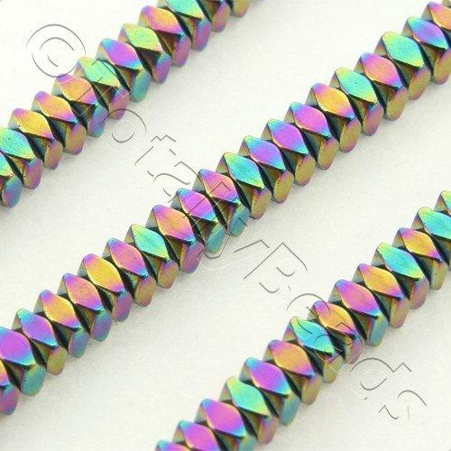 Hematite Facet Square 2x1mm - Rainbow Plated