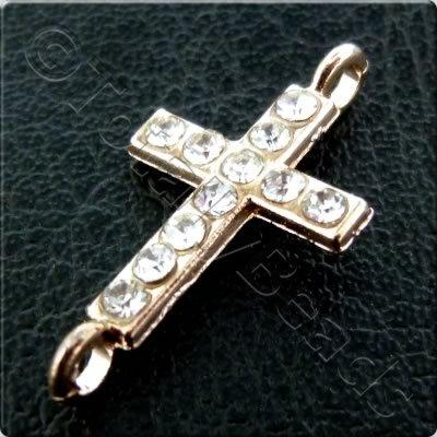 Rhinestone Connector - Cross - 20x10mm - Rose Gold and Crystal