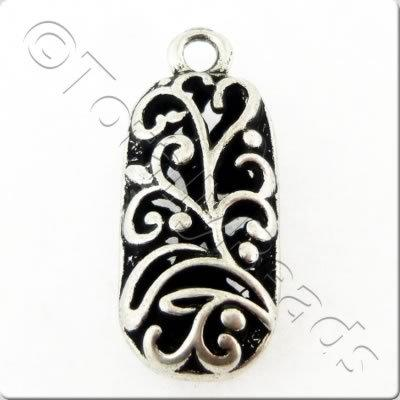 Tibetan Silver Charm - Filigree Small Rectangle