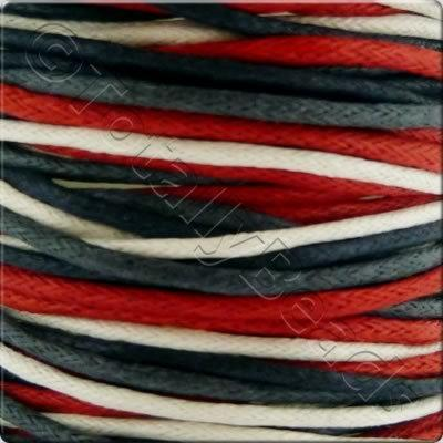 Wax Cotton Cord (1.5mm) Mix - 4x2 metres - Red+Black+White
