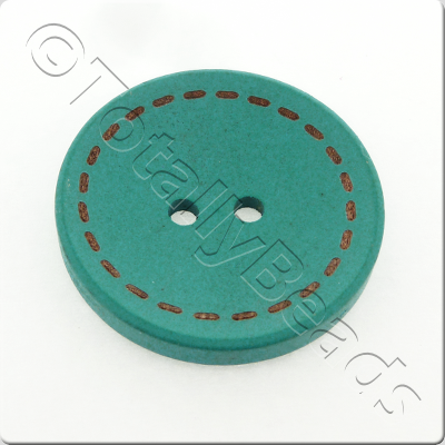 Wooden Button Stitch Effect 30mm - Turquoise