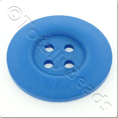 Wooden Button 50mm - Blue